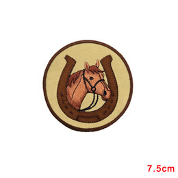 Wholesale Horse Horseshoes - ROCKING HORSE Patch Western Horse Head in Horseshoe Iron On Embroidered Applique