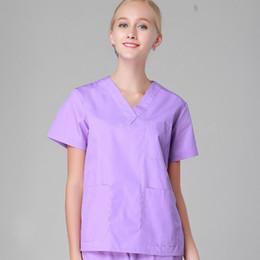 Scrubs infermieristici online-Donne uomini ospedale clinica medico abbigliamento da lavoro macchia set salone di bellezza abbigliamento medico vestiti abbigliamento medico infermiera uniforme superiore + pantaloni viola