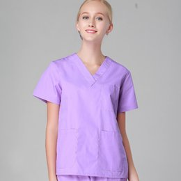 Wholesale Medical Scrubs Uniforms - Women men hospital clinic doctor workwear scrub set beauty salon medical robe clothes medical clothing nurse uniform top + pants purple