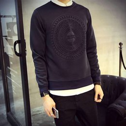 Wholesale Graphic S - Wholesale-Hot! Men's Fashion Pullover hoodies sweatshirt Graphic Printing Simple Slim Long Sleeved men sweatshirts