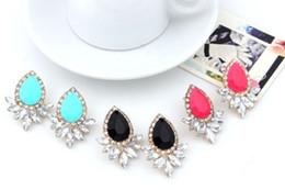 Wholesale Pink Korean Earring - Star Jewerly Nice 5 Colors Korean Gold Plated Big Crystal Drop Pearls Stud Earrings For Woman