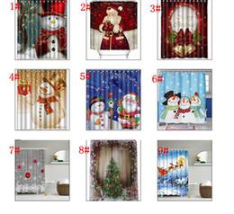 Wholesale Shower Curtains Polyester - Snowman Shower Curtain Merry Christmas Sleepy Snowman Pattern Bathroom Shower Curtain Christmas Bath Curtain 165*180cm KKA2106