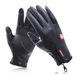 Wholesale Women Leather Motorcycle Gloves - Outside windproof waterproof zipper leather glove men Winter touch screen female plush warm motorcycle cycling glove