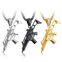 Wholesale Men Necklace Military - Military Stainless Steel Gun Pendant Necklace G36K Assault Rifles Man Gift