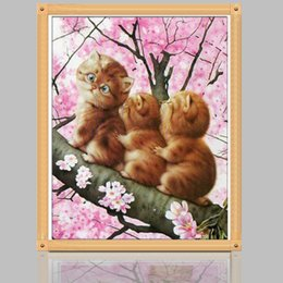 Wholesale Cross House - 5D DIY diamond Painting Cats Cross Stitch diamond embroidery mosaic diamonds house decoration DIY Gift to Kids