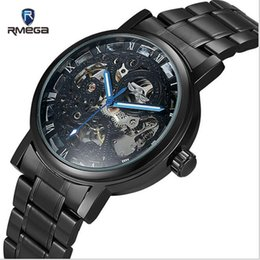 Wholesale Mechanical Hollow Sided - RMEGA Montres Hommes Double - sided hollow automatic machinery business luminous men 's steel belt watches