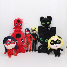 Wholesale White Plush Cat - 15cm-30cm Miraculous Ladybug and Cat Noir plush Toy Doll Lady Bug Adrien Marinette Plagg Tikki Plush Doll pendant keychain