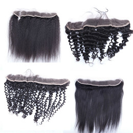 Wholesale lace frontal closure 13x2 - 13x2 Lace Frontal Closures 8-20inch Brazilian Human Hair Lace Frontals deep body loose wave straight curly Pre Plucked Frontal Closures