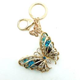 Wholesale Butterfly Keychains - JINGLANG key chains luxury Ladies Keychain Car Keychain Metal Keyring Crystal Keychains Rhinestone Butterfly Keychain Jewelry