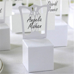 Wholesale Chair Place Card Holders Wholesale - Wholesale- 2016 New 100pcs lots Chair Place Card Holder and Favor Box best for candy boxes and wedding favors box,event party supplies