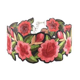 Wholesale Jewelry Flower Bib - New Fashion Beautiful Women Bohemia Embroidery Rose Flowers Bib Choker Necklace Charm Jewelry Gifts Free Shipping