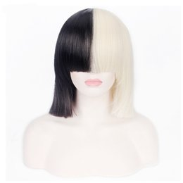Wholesale Wig Blond Short - Wigs Short Straight Sia Cosplay Wig T Black Blond Color Women's Party Synthetic Hair
