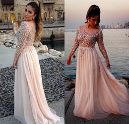 Wholesale Hot Pink Club Dresses - Hot Sale 2017 Elie Saab Formal Celebrity Evening Dresses Sheer Neck Long Sleeves Illusion Bodice Floor Long Plus Size Arabic Prom Gowns