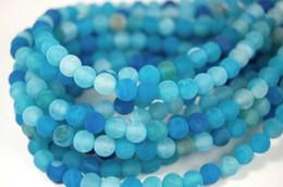 Wholesale Dragon Vein Agates - Fashion diy 6mm matt blue dragon Vein agate beads full strand