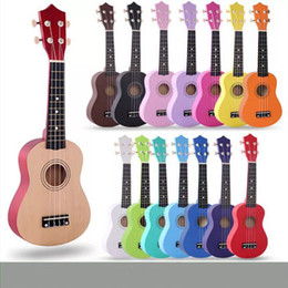 Wholesale Acoustic White - 2017 colorful ukulele 21 inches Wooden ukulele for children Basswood Soprano Acoustic Stringed Instrument 4 Strings Toy Guitar