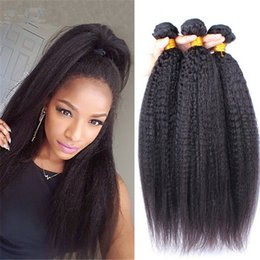 Wholesale Yaki Cheap Weave - Top Grade 3 Pieces Lot Afro Kinky Straight Remy Hair Extensions 9A Cheap Brazilian Italian Coarse Yaki Virgin Human Hair Weave Weft Bundles