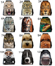 Wholesale Print Works Dog - Cool 3D Animal Horse Lion Wolf Dog Mens Boys Backpack Rucksack School College Laptop Work Bag Outdoor Bags