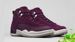 Wholesale Air Fibre - men basketball shoes air retro 12 bordeaux 130690-617 purple suede 12s running shoe for mens carbon fibre sports tennis designer sneakers