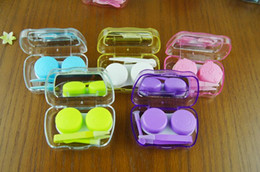 Wholesale Cute Contact Lens Travel Cases - Mini cute color plastic Contact Lenses case boxes travel kit set Contact lens holder storage with Small Mirror