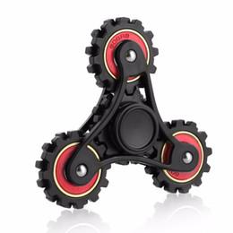 Wholesale Hand Chain Wheels - New Gear Chain Hand Fidget Spinner Gyro EDC Finger Stress Relief Four Gear Wheels Hand Spinner Decompression Toys Gifts HandSpinner