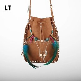 Wholesale Folk Bodies - Wholesale-2016 Female Real Leather Small Bag Handmade Brown Beaded Feathers Hippie Gypsy Indian Folk Tribal Bohemian Boho Feminine Pouch