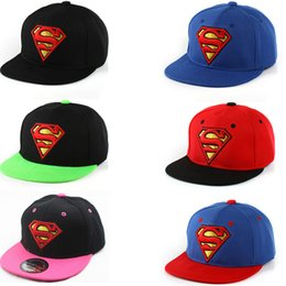 Wholesale Hat Child Supermen - Hot Selling Kids Hip Hop Hats Flat Edge Ball Caps Sports Bboy Snapback Baseball Caps Adjustable Fashion Superman Hats Cool Boys Girls