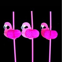 Wholesale Drinking Straws Kids - Wholesale-25pcs Flamingo on Paper Straws For Kids Birthday Wedding Decorative Party Environmental Chevron Creative Drinking Straws