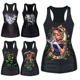 Wholesale Women Gothic Vests - Wholesale-Brand New Gothic Punk Vest Women Pattern Print Clubwear Sleeveless T-Shirt
