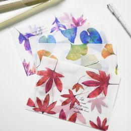 Wholesale Pc Songs - Wholesale- 8 pcs lot Song of Fallen Leaves Dull Polish Translucent Envelope Message Card Letter Stationary Storage Paper Gift