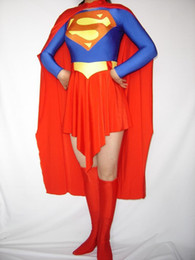 Wholesale Superman Lycra Catsuit - RED lady Flight Superman Full Body Spandex   lycra Zentai Bodysuit Adult Size For party Halloween masquerade