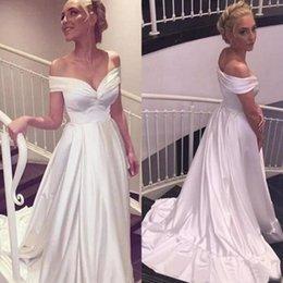 Vestido de noiva de seda simples on-line-Simples 2017 Off The Shoulder Praia Vestidos de casamento baratos Elastic Silk como cetim varredura Trem vestidos de noiva Custom Made China EN8118
