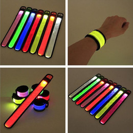 Wholesale Led Bands For Parties - LED Sports Slap Wrist Strap Bands Wristband Light Flash Bracelet Glowing Armband Flare Strap For Party Concert Armband