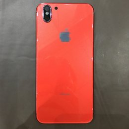 Wholesale Iphone Back Glass Logo - For iPhone 6 6S Plus Rear Housing Like iPhone X Style Battery Door Black Red Metal Glass Back Cover with Logo Side Keys