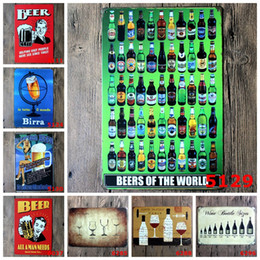Wholesale Metal Craft Wine - Beer Wine Birra Tin Poster Wall Decor Bar Home Vintage metal sign Craft Gift Art Iron painting Tin Sign(Mixed designs)