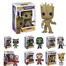 Wholesale Pop Figure Funko - FUNKO POP Guardians Of The Galaxy Toys Figure doll Dancing GROOT Marvel Bobble Head Mask Star Lord Rocket Raccoon Gamora Drax