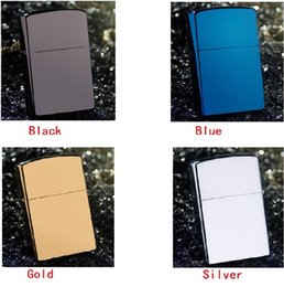 Wholesale Wholesale Kerosene Lighters - 10pcs lot High-quality Creative Lighter (Without kerosene) Solid Color Smooth windproof inflatable lighter(Color:Gold,Silver,Black,Blue)