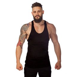 Wholesale Wholesale Men Shirts China - Wholesale- Cotton Blank Sleeveless Undershirt For Men White Loose Fitness Bodybuliding Mens Tank Tops China Wholesale Muscle Shirt