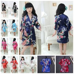 Wholesale Kids Kimonos - Children Silk Rayon Kimono Bathrobe Girls Kids Robe Night Gown Floral Sleepwear Pajamas 10 Colors 100pcs OOA1909