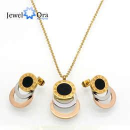 Wholesale Silver Rose Bracelet Earrings Necklace - Fashion Roman Numerals Round Shell Multicolor Gold  Rose Silver Plated 316L Stainless Steel Jewelry Set ( NE101739) 17401