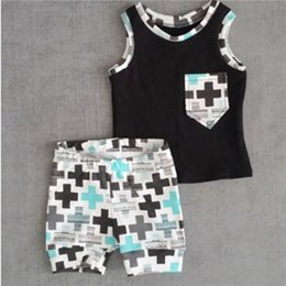 Wholesale Top Quality Wholesale Clothing - Baby Toddler Boys Clothes Pocket Tops Vest and Pants 2pcs Outfits Clothes Set hight quality free shipping