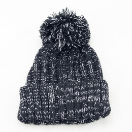 Wholesale Cute Christmas Hats - 2017autumn and winter color woven hat Super cute plush ball Fashion knitted cap Outdoor all-match other color thick warm spots section Beani