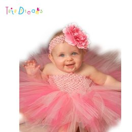 Wholesale Toddler Boys Party Clothes - Wholesale- Cute Fluffy Baby Tutu Dress With Flower Headband Infants Girl Baby Birthday Party Dresses Toddler Baby Boy Clothes PT51