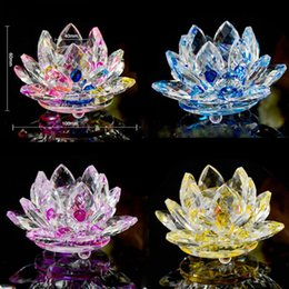 Wholesale K9 Ornament - 100mm K9 Crystal Lotus Flower Crafts Feng Shui Ornaments Figurines Glass Paperweight Party Gifts Wedding Decoration Souvenirs LZ0058