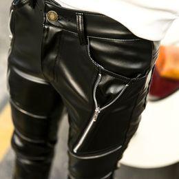 Wholesale Fashion Leather Pants For Men - Wholesale- Faux Leather Pants For Men 2016 Autumn Winter New Fashion Brand Personality Mens Black Zipper Trousers Mens Skinny PU Pant