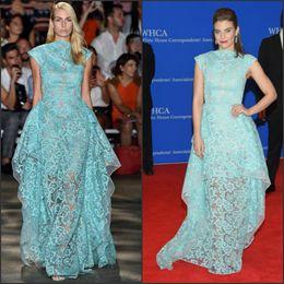 Wholesale Lauren Black - See Through Celebrity Dresses 2017 Lauren Cohan Inspired Aqua Floral Sheer Organza Cap Sleeves Layered Lace Red Carpet Dress