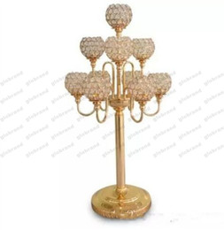 Wholesale Wedding Centrepieces Wholesale - new 10 arms candelabra wedding centrepiece gold candelabra with crystal ball candelabras for wedding table decoration centerpieces GLO1261