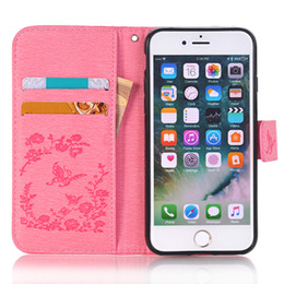 Wholesale Purple Butterfly Iphone Cases - Butterflies Embossed Point drill Leather Case For iphone 5S 6S 6S plus 7S 7S Plus 8S Case Cover Protector Frame