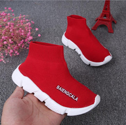 Wholesale Boots Boys - kids shoes baby running sneakers boots toddler boy and girls Wool knitted Athletic socks shoes 1648