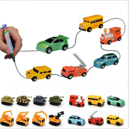 Wholesale Mini Trucks Toys - Magic Inductive Toys Car Mini Magic Pen Line Vehicles Folow Any Line You Draw Children's CAR Truck Tank Toy