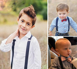 Wholesale Suspender Bow Tie - Children Kids Boys Girls Solid Color Clip-on Suspenders Elastic Adjustable Braces With Cute Bow Tie